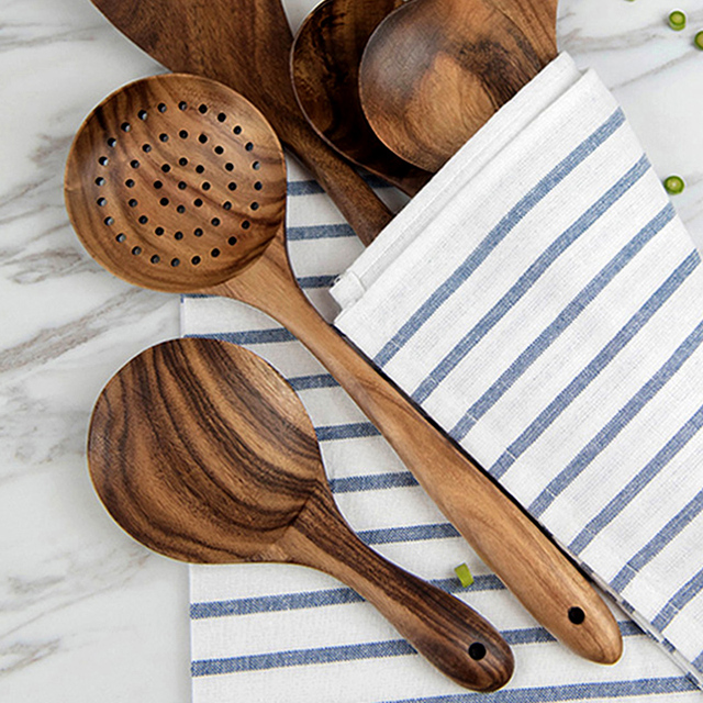 Wood Kitchen Serving Spoons Ladle Rice Paddle Big Long Handled Wooden  Strainer Spoon Skimmer Scoop Wooden