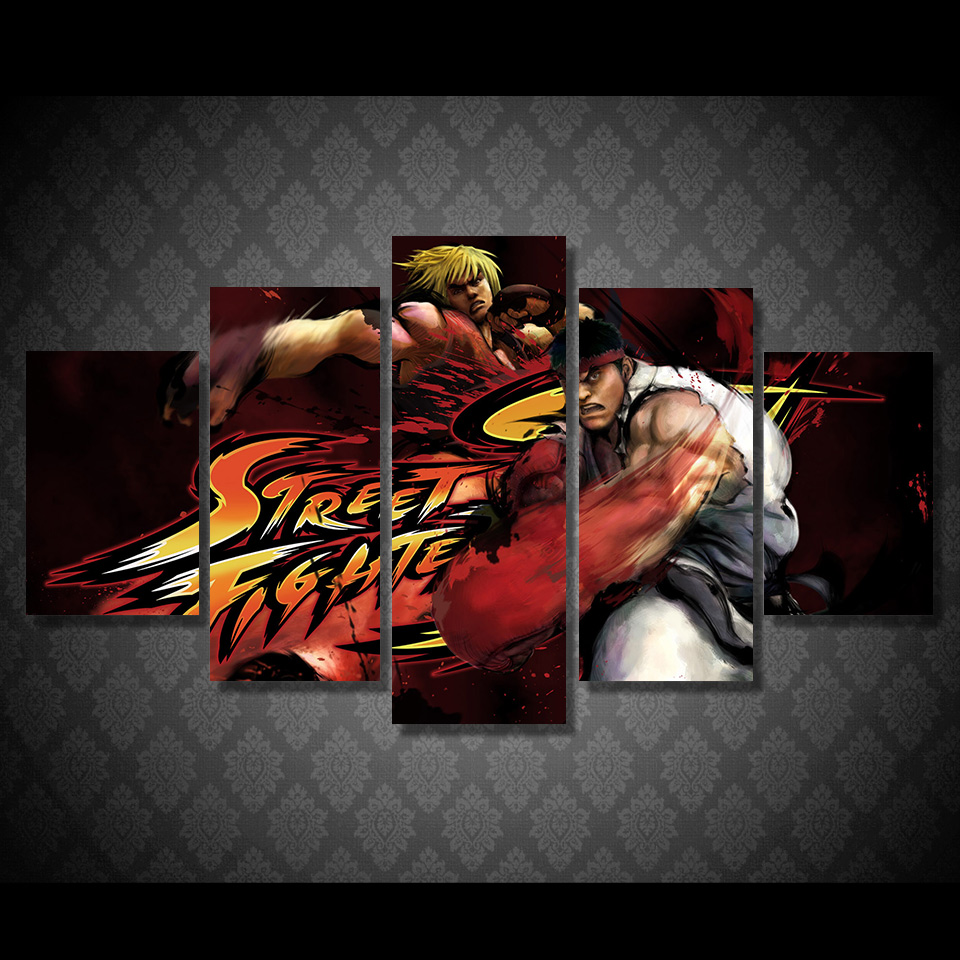 Unframed Modular Wall Painting 5Panel The Street Fight Game Characters Poster Modern On Canvas Pictures For Living Room