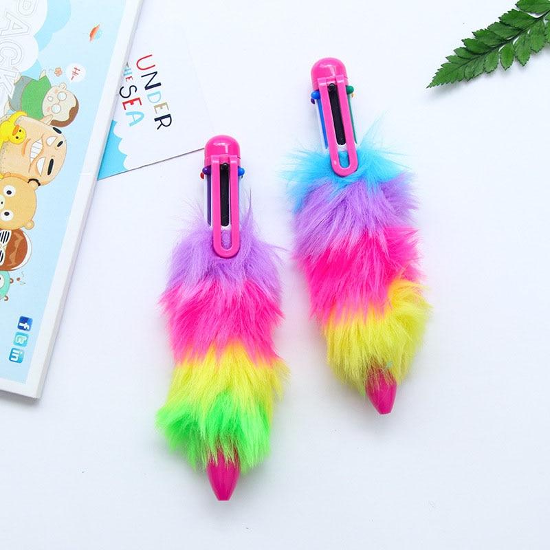 plástico arco-íris esferográfica canetas moda material escolar