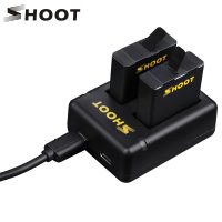 SHOOT Dual Port Battery Charger With 2pcs 1220mAh Battery For GoPro Hero 5 Black Camera For