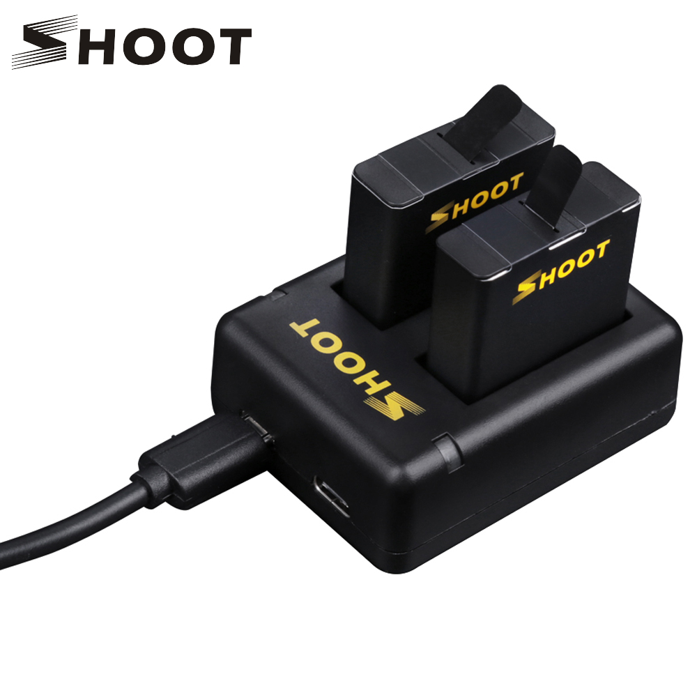 SHOOT Dual Port Battery Charger With 2pcs 1220mAh Battery for GoPro Hero 5 Black Camera For Go Pro Hero 5 Changing Accessory Set for 2pcs 1600mah gopro hero 5 gopro hero 6 battery batterie lcd dual usb charger for gopro hero5 6 black camera accessories