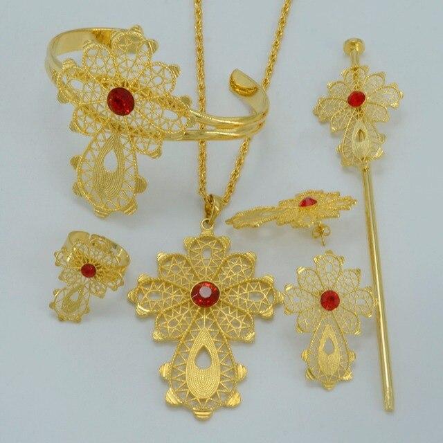 Эфиопский Крест Ювелирные наборы Ожерелье/Серьги/Кольца/Штырь Волос/Браслет Позолоченный Африка Невесты Свадебное Эритрея крест устанавливает #000316