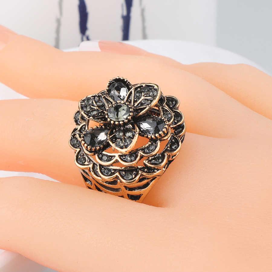 Kinel luksusowe szary kryształowy kwiat pierścień dla kobiet Antique złoty kolor w stylu Vintage biżuteria Party akcesoria prezenty 2019 nowy