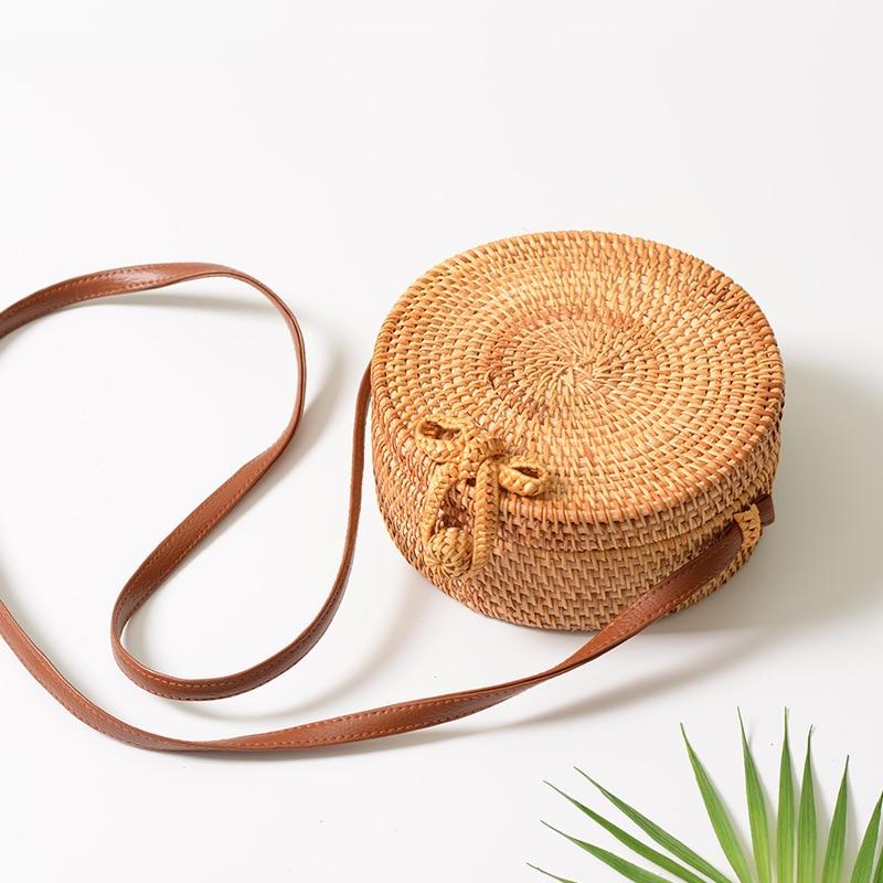 2018 Crossbody Round Handmade Straw Bags Women Summer Rattan Bag Woven Beach Cross Body Bag Circle Bohemia Handbag Bali Box