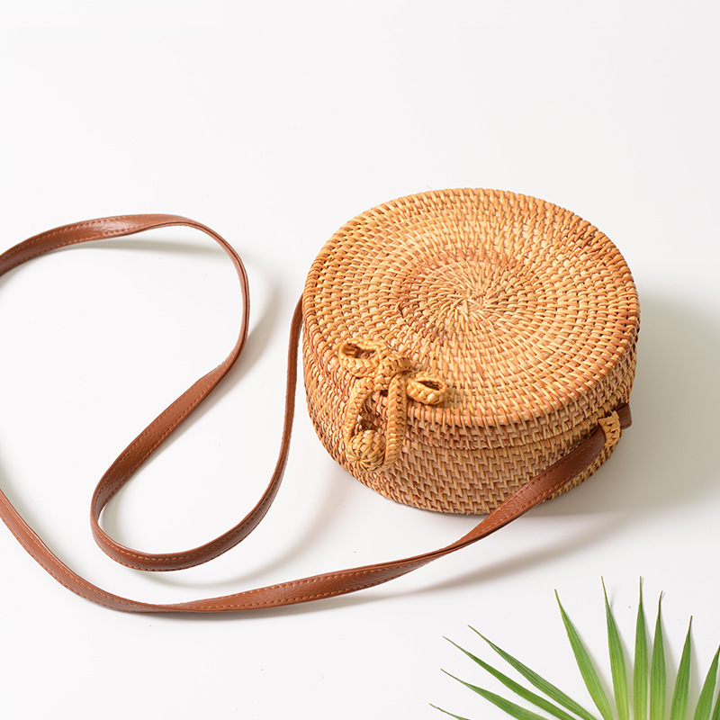 2018 Crossbody Runde Handgemachte Stroh Taschen Frauen Sommer Rattan Tasche Gewebt Strand Kreuz Körper Tasche Kreis Böhmen Handtasche Bali Box