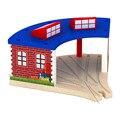 Мода Railwayt поезд Трек Томас и Друзья Деревянный дом парковка слот игрушки для ребенка