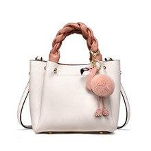 Luxury Genuine Leather Designer Handbags High Quality Tote Flamingo Fur Ball Small Bags for Women Shoulder Bag bolsos mujer 2018 стоимость