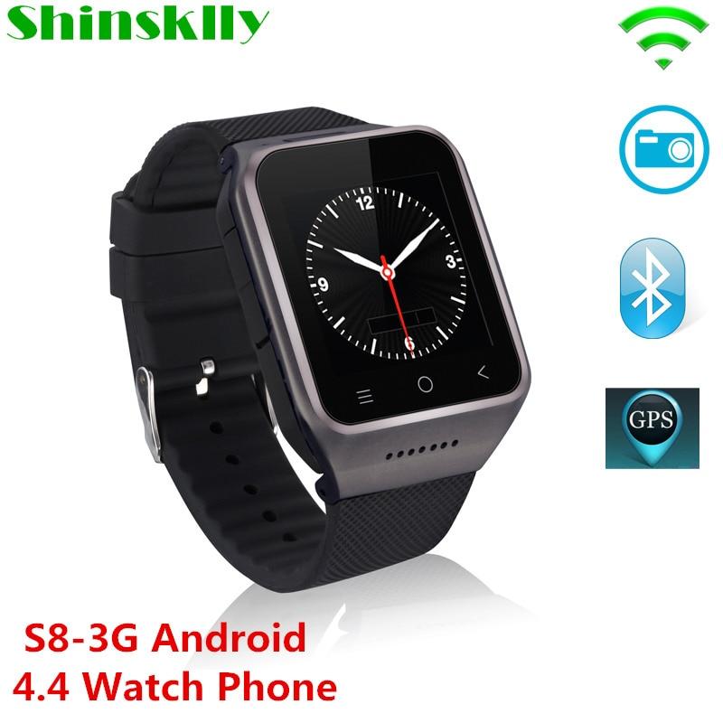 S8 3G Smartphone Bluetooth montre intelligente Android 4.4 MTK6572 double coeur GPS 2.0MP caméra WCDMA WiFi MP3 MP4 Smartwatch PK DZ09 Q18