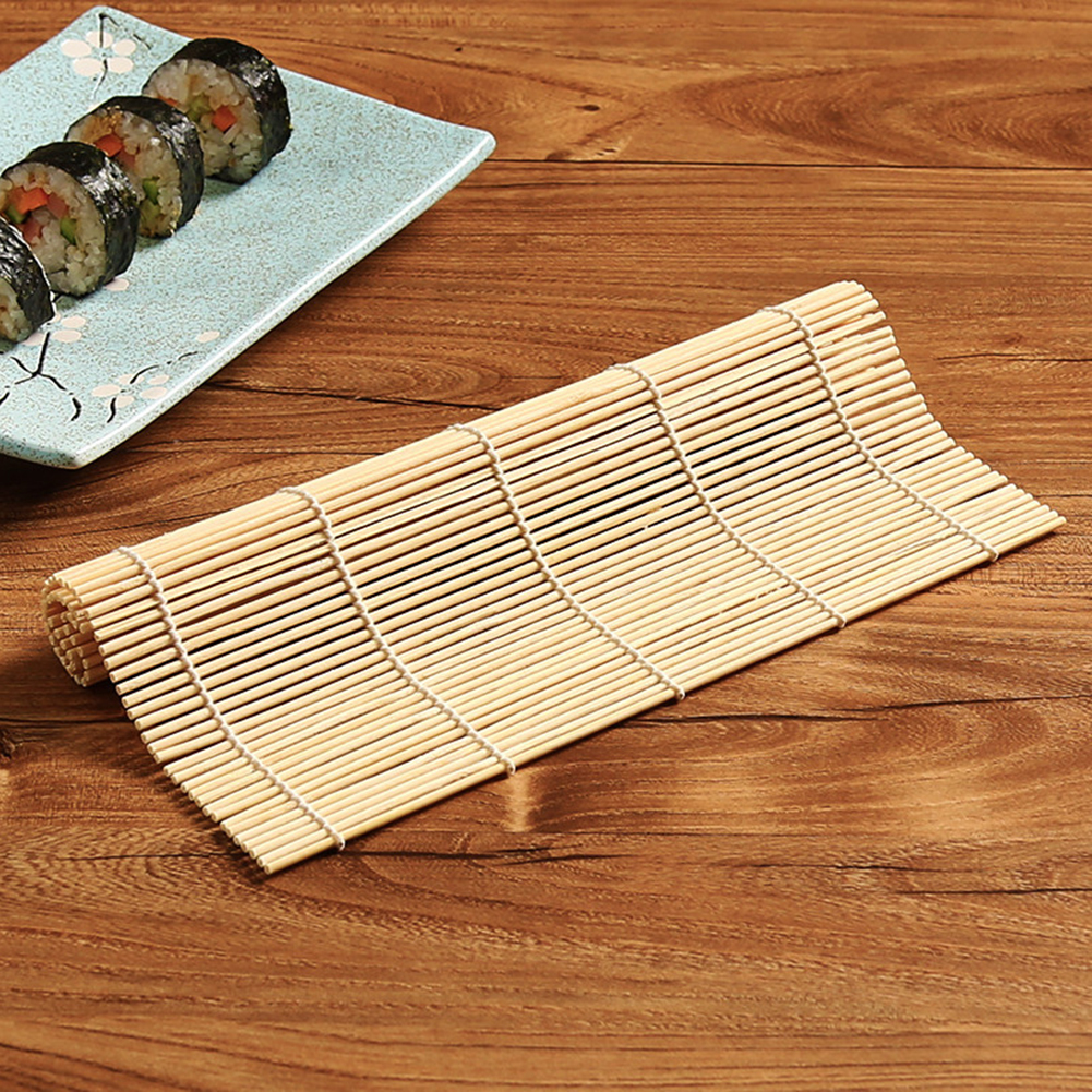 2pcs Japanese Kitchen Roll-Up Sushi Mat in Bamboo 23 x 24 cm