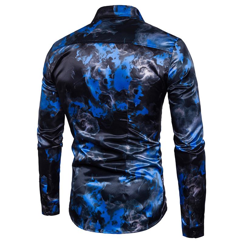 c96c2e0bd6a1d męska 2017 nowy styl Osobowości dorywczo Koszula mężczyzna czerwony  niebieski płomień Cyfrowy wzór bawełniana sukienka z długim rękawem ubrania  S-XXL