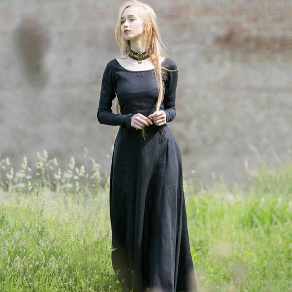 7b52021b84b95 ... Women Long Maxi Dress Vintage Middle Age Lace Up Plus Size Dress Gothic  Sweet Peppy Holiday ...