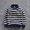 Novo 2016 primavera Outono Crianças movimento listra Blusas Camisas do Pulôver de tricô Cardigans Quentes Tops vestuário infantil SOU-001