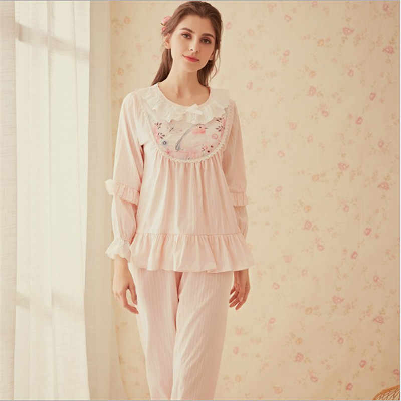 Court women's winter pajama sets pink blue pajamas princess ruffles sets  cute sweet flower birds printed pajamas for ladies