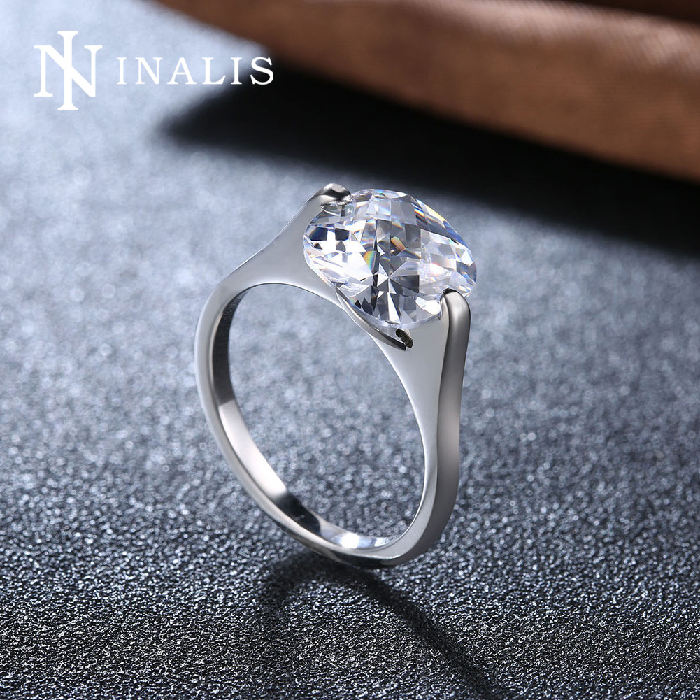 INALIS Female Wedding Rings Stainless Steel Cubic Zirconia Square Crystal Fashion Jewelry