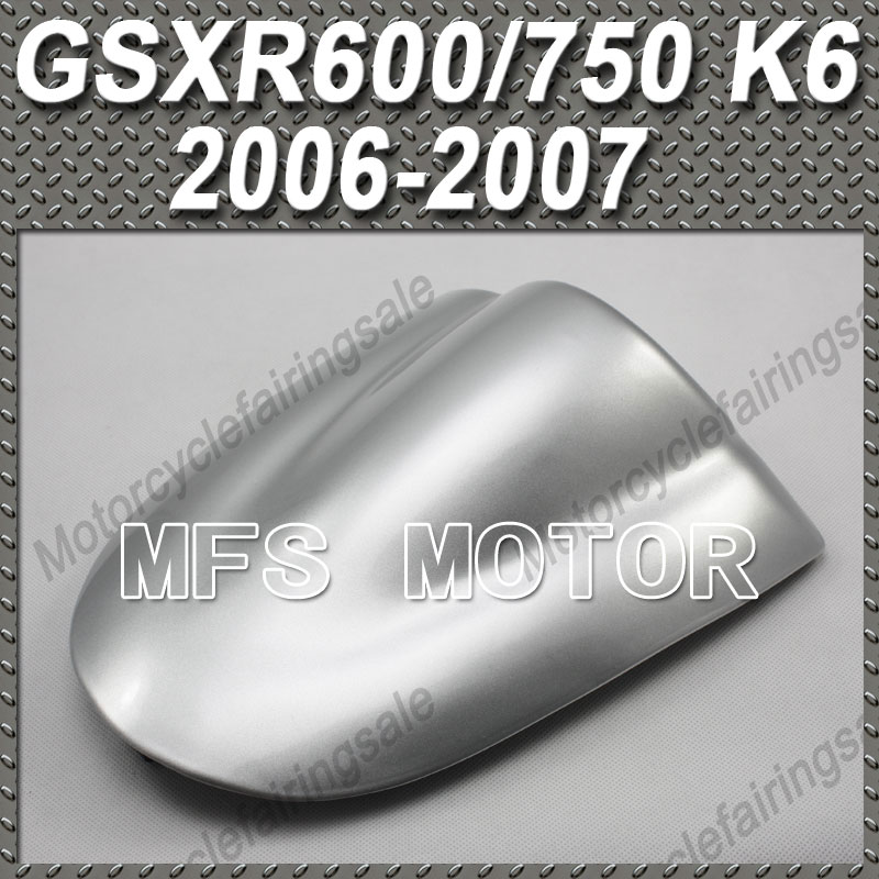 New For GSX R600/750 K6 Motorcycle Rear Pillion All Silver Injection ABS Seat Cowl Cover For Suzuki GSX R600/750 K6 2006 2007