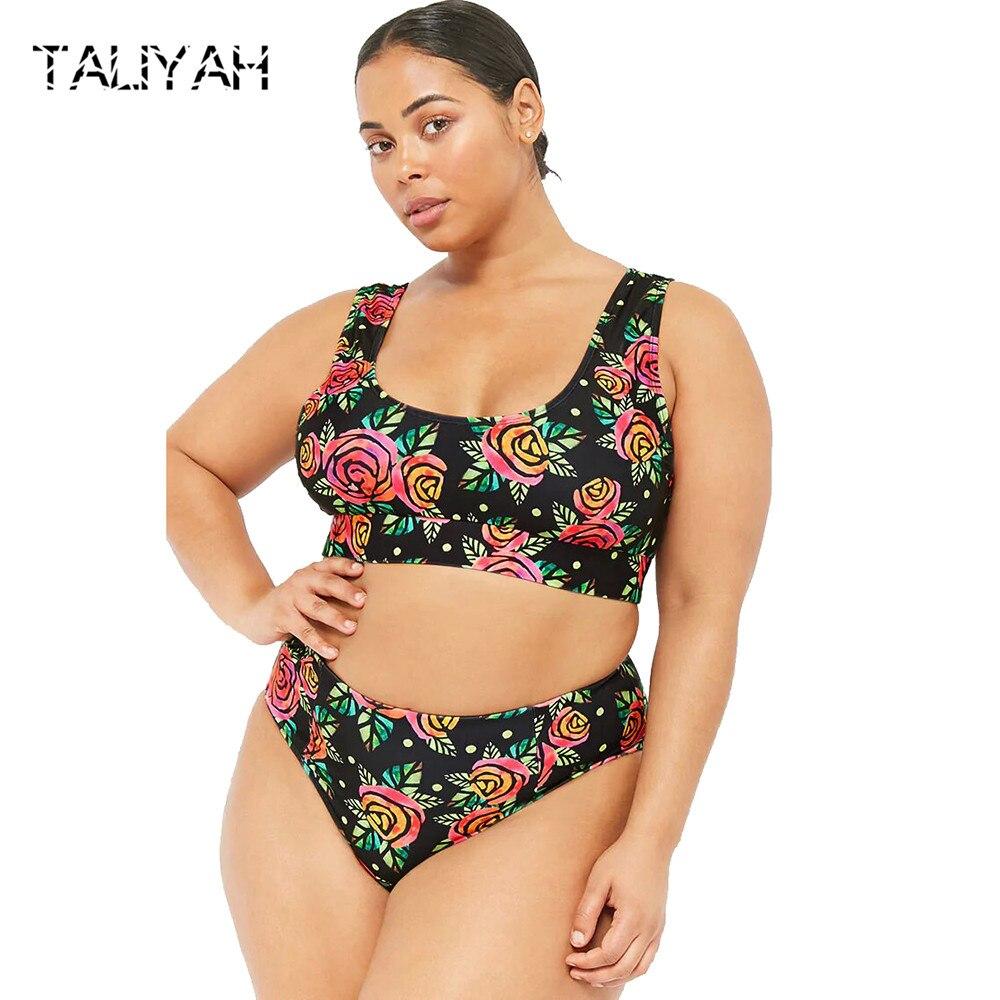 Plus size swimsuits 2019 bikini new print swimming suits women's swimwear big cup bikini set Brazilian push up beach wear
