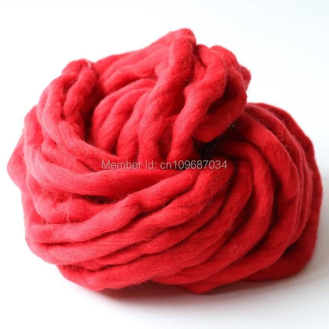 100% Merino Wool bulky knit yarn, Flaming red color,Super Chunky Big Loop Yarn, Loopy Mango scarf yarn