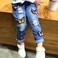 Оптовая торговля (5 шт./)-2016 весна детская одежда девочек бабочка джинсы детская одежда девушки брюки общая длина брюки