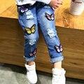 Atacado (5 pcs/a)-2016 roupas de primavera das crianças da borboleta das meninas de jeans crianças calças roupa das meninas calças de comprimento total