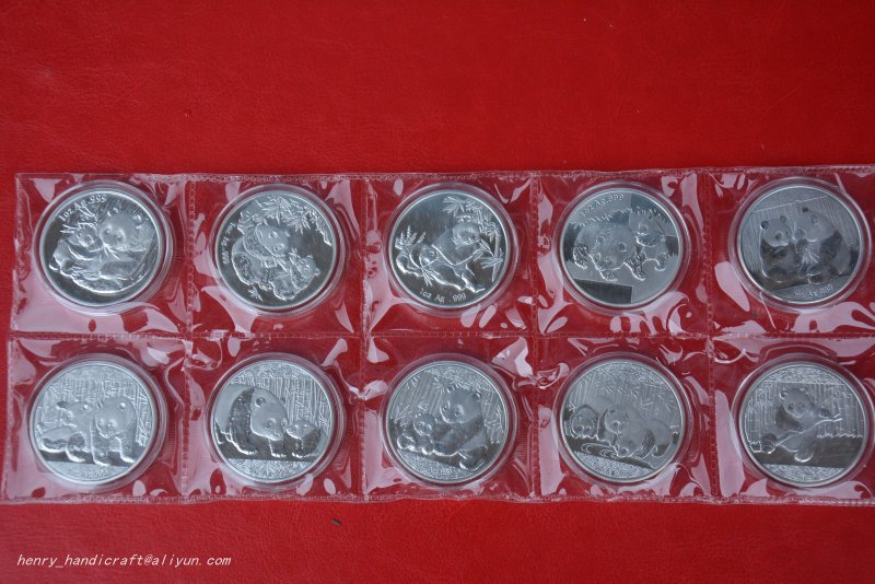 RARE Chinese <font><b>government</b></font>-issued United Nations level animal <font><b>protection</b></font>,Panda coin,10 pieces/pack,#02,Has a high collection value image