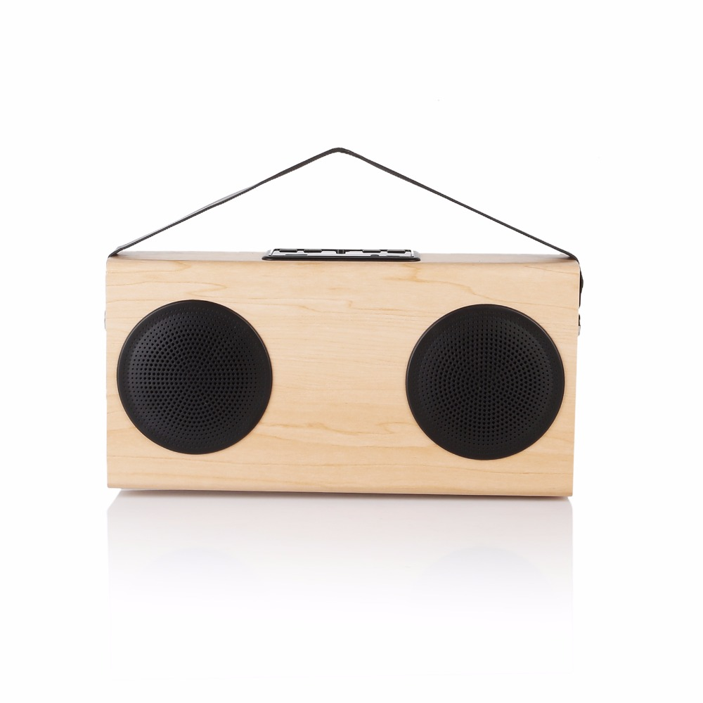 Wooden FM Radio Portable Bluetooth Wood Stereo Speaker Grain Wireless Home Bookshelf Speakers Enhanced Bass 20w portable wooden high power bluetooth speaker dancing loudspeaker wireless stereo super bass boombox radio receiver subwoofer