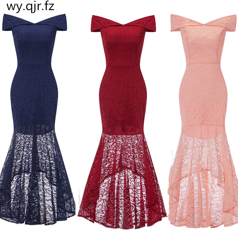 OML533#Boat Neck short wine red lace fishtail   Bridesmaid     Dresses   blue wedding party   dress   prom gown women's fashion wholesale