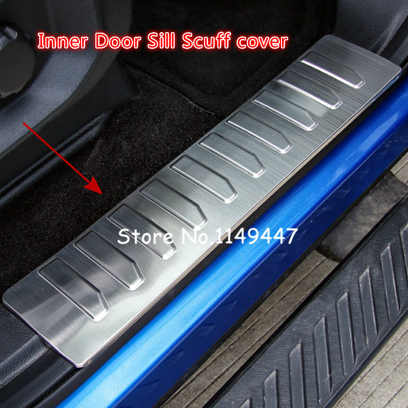 For Ford F150 F-150 2015 2016 2017 Car styling Stainless Steel Chrome Inner Door Sill Scuff Protector Cover Trims 4 pcs new arrival for lexus rx200t rx450h 2016 2pcs stainless steel chrome rear window sill decorative trims