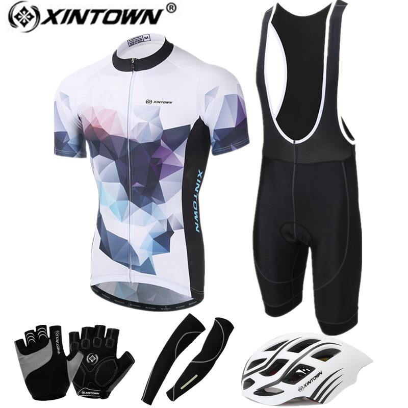 XINTOWN 2017 Short Sleeve Cycling Jersey Set Summer MTB Bicycle Clothing Maillot Ropa Ciclismo Helmet Gloves Bike Sports wear xintown 2018 cycling jersey clothing set summer outdoor sport cycling jersey set sports wear short sleeve jersey shorts men sets
