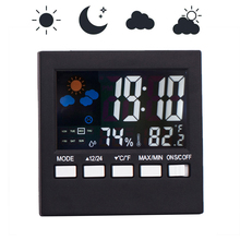 Colorful LCD termometro Clock Alarm Multi-use Digital Thermometer Hygrometer Snooze Function Calendar Weather Forecast Display