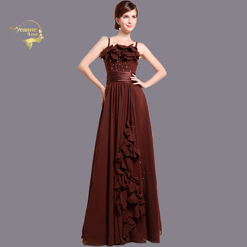 Brown   Bridesmaid     Dresses   Spaghetti Straps Chiffon Women Graduation Long   Dress   Vintage Party Prom Gown Robe Longue Soiree BR36