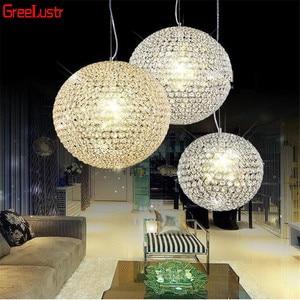 Image 4 - LED Ball Pendant Lights Crystal Pendant Lamp Lustres Hanglamp Fixtures Lamparas Colgantes Abajur Luminaires for Dining Room E27