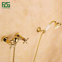 FLG Wall Mounted Bathtub Faucet With Ceramic Hand Shower Waterfall Bath Faucet Brass Gold Plated Finish Bath Shower Set HS033