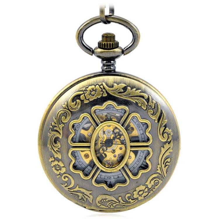 Relógios de Vento Mecânica dos Homens Clássica para Mulheres Brown Antique Steampunk Bolso Fob Mão Relógios Relógio Pingente Escultura Pétala &
