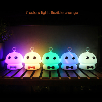 цена на Mushroom LED Night Light with Keychain Touch Sensor Colorful USB Rechargeable Cartoon Silicone Bedroom Lamp for Children Kids