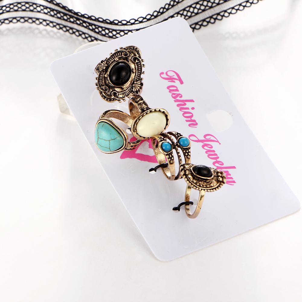 HTB1LeN8QVXXXXadXXXXq6xXFXXXO Women Bohemian Style 5-Pieces  Antique Knuckle Ring Set With Stone Accents - 2 Colors