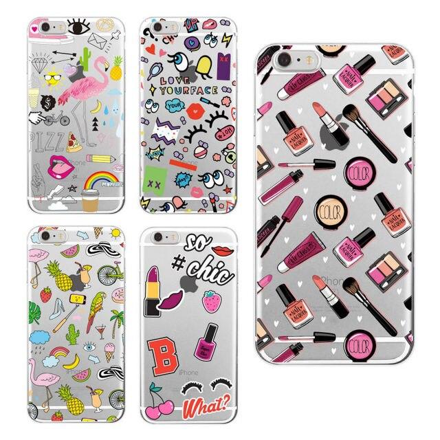 Funda de teléfono suave para iPhone 5, 6 S, 7 S, unicornio secreto de piña con labios de maquillaje para chicas 8 8 Plus X XS X Max