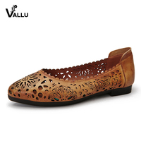VALLU Handmade Women Flats Summer Ballet Shoes Genuine Leather Cut Out Comfortable Breathable Casual Flat Shoes Female Footwear