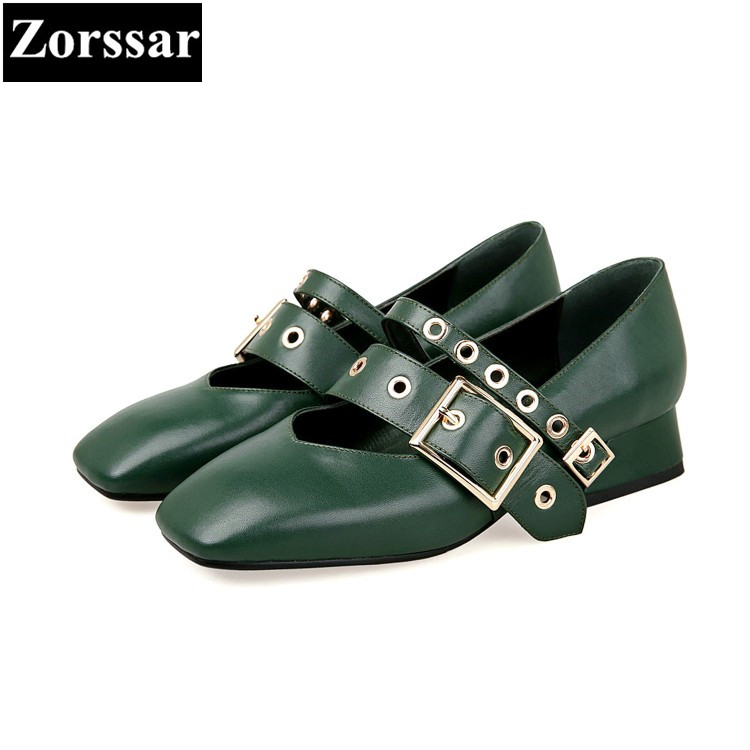 {Zorssar} brand Real leather spring Fashion womens pumps square toe high heels Mary Jane shoes low heel ladies shoes Green zorssar 2018 new fashion buckle genuine leather thick heel womens shoes heels square toe high heels pumps ladies office shoes