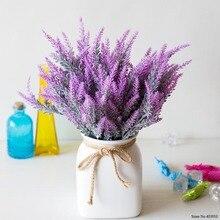 25 cabezas/ramo de Provenza romántica Artificial flor púrpura ramo de lavanda con hojas verdes para adornos de fiesta doméstica