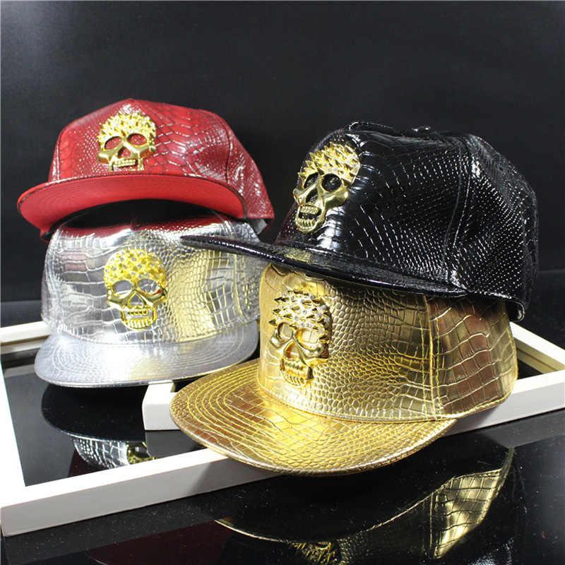 f918ecf03b2ba1 2016 New Leather Summer Brand Metal Skull Europe Baseball Cap Hat For Men  Women Casual Hip