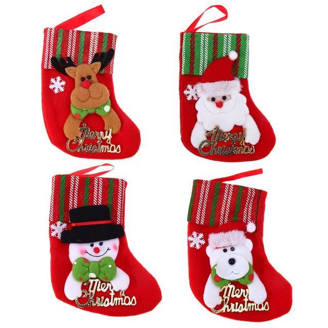 christmas stocking plaid santa claus sock gift bag kids xmas home decoration candy bag bauble christmas - Christmas Stockings For Kids
