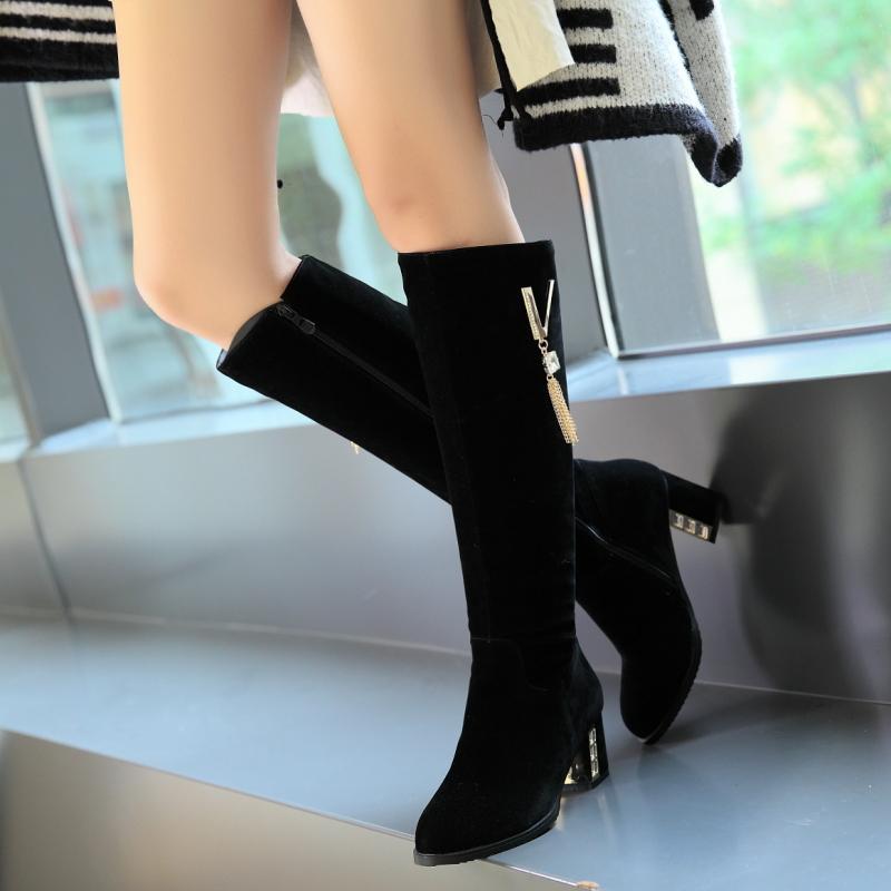 Pie 2018 Zip Botas Nueva Zapatos Llegada Negro Del Invierno Tacones Redonda Mujer Cuadrados Dedo Mujeres Pu Rodilla rwCrqYPF