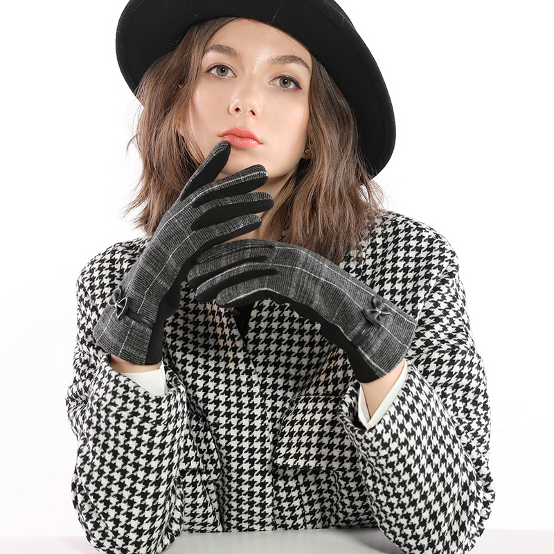 Woman Plaid Bow Winter Spring Gloves Thicken Warm Touch Screen Glove Female Fashion Elegant Full Finger Mittens Driving Gloves in Women 39 s Gloves from Apparel Accessories