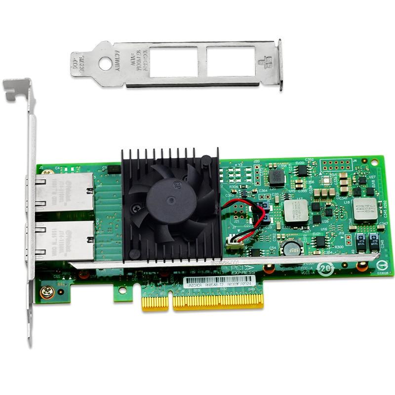 PCIe X8 10 Gigabit Ethernet NIC Card 2 Port Network Adapter 10000Mbps For Server