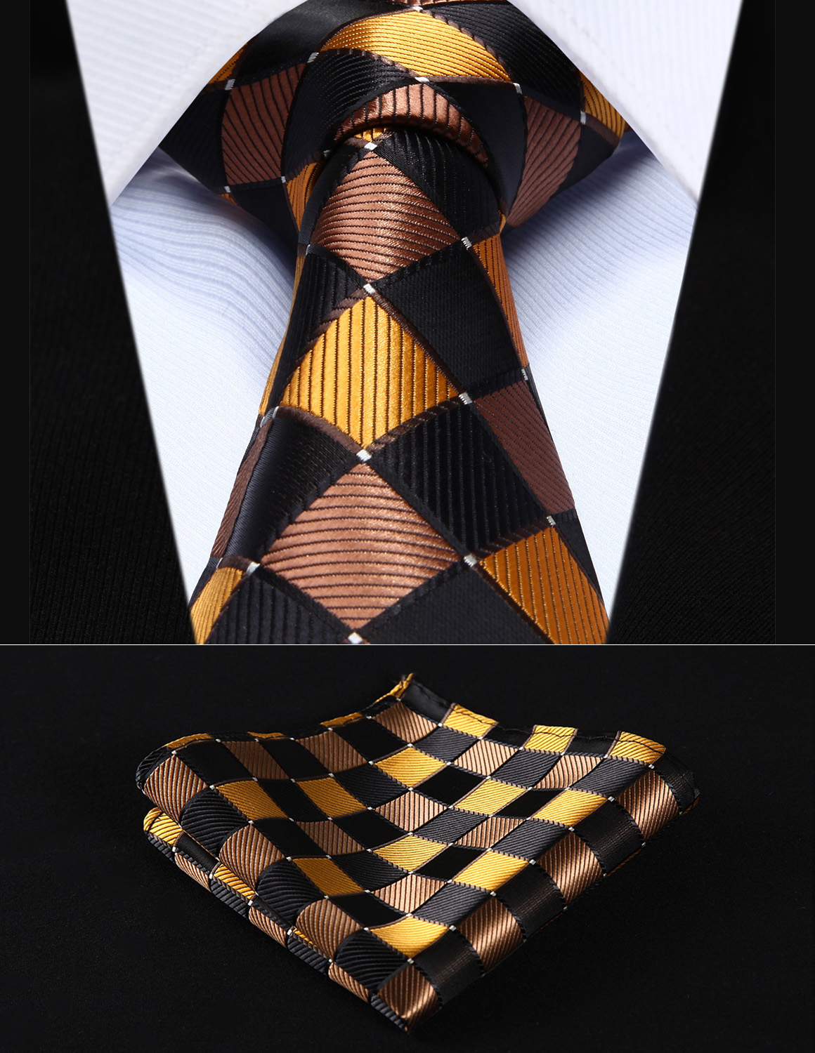 "TC807Z8S Brown Orange Check 3.4"" Silk Woven Men Tie Necktie Handkerchief Set"