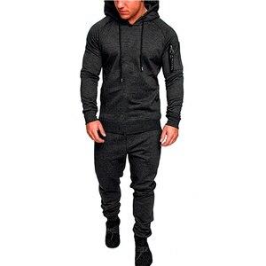 Image 3 - Камуфляжный спортивный костюм для спортзала и бега, мужская спортивная одежда с капюшоном, мужской костюм для бега на осень и зиму, мужской спортивный костюм из 2 предметов, теплый спортивный костюм для бега