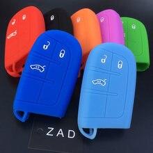 Силиконовый чехол ZAD для автомобильного ключа, цветной чехол для ключа для Jeep Renegade Cherokee, Grand Cherokee, DODGE JCUV, 3-кнопочный пульт дистанционного упр...