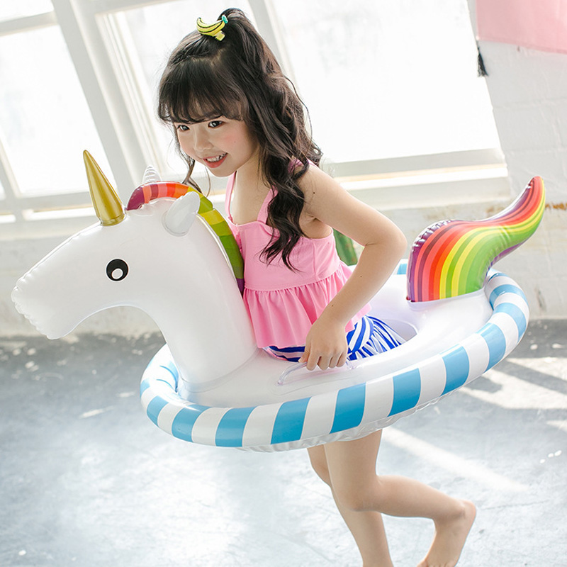 90cm Pink Flamingo White Unicorn Kids Inflatable Pool Float 2018 Summer Ride-on Baby Swimming Ring Beach Party Water Toys Boia