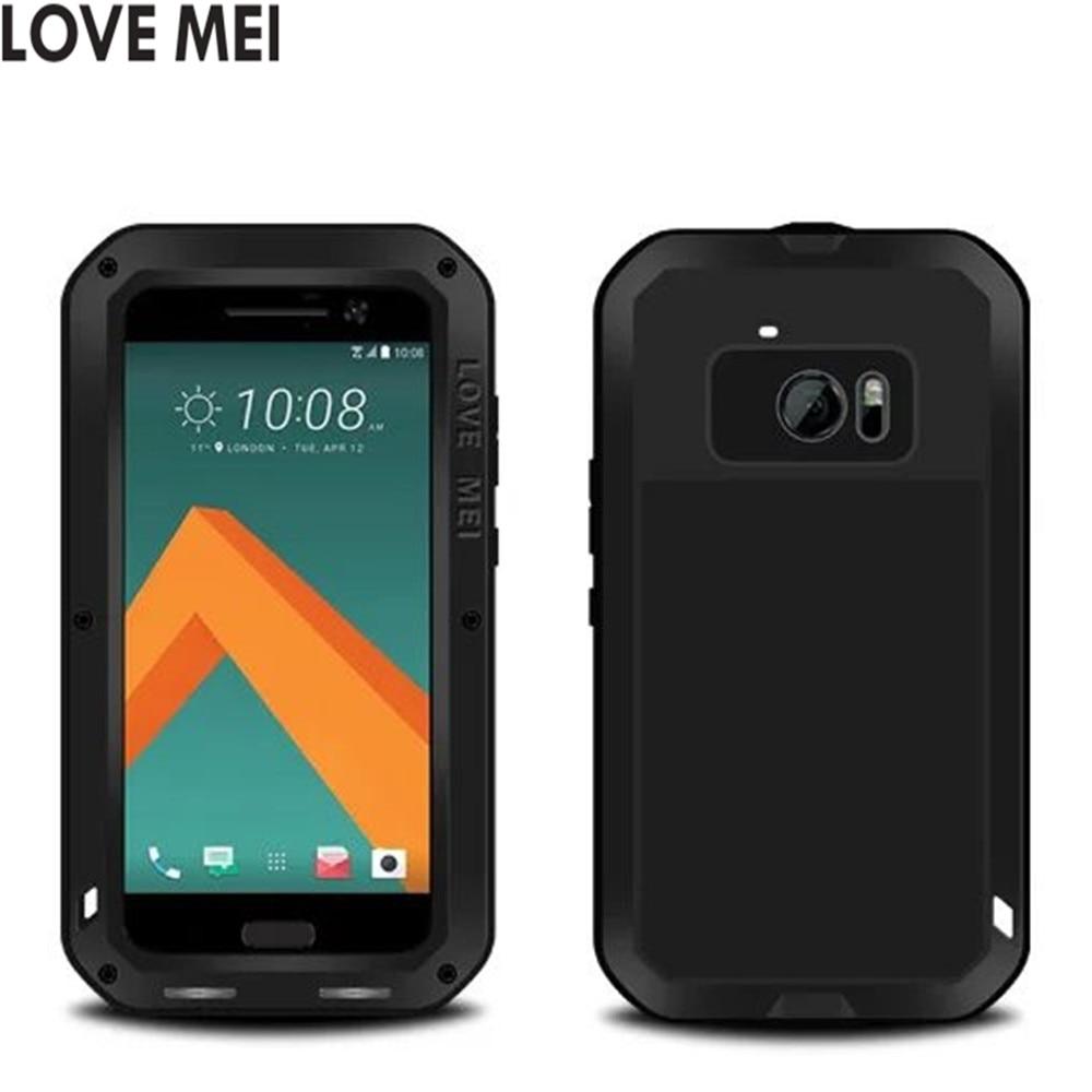 imágenes para Amor de la Original Mei Potente Caso Para HTC M10/HTC 10 Estilo de Vida/htc 10 A Prueba de agua A Prueba de Golpes Cubierta de la Caja De Aluminio + Vidrio templado