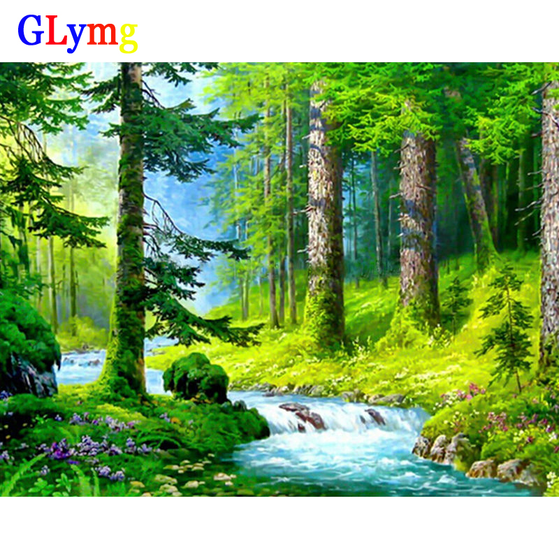 GLymg Diy Diamond Painting Cross Stitch Kit Forest Streams Green Forest Diamond Embroidery Trees Square Mosaic Landscape Picture
